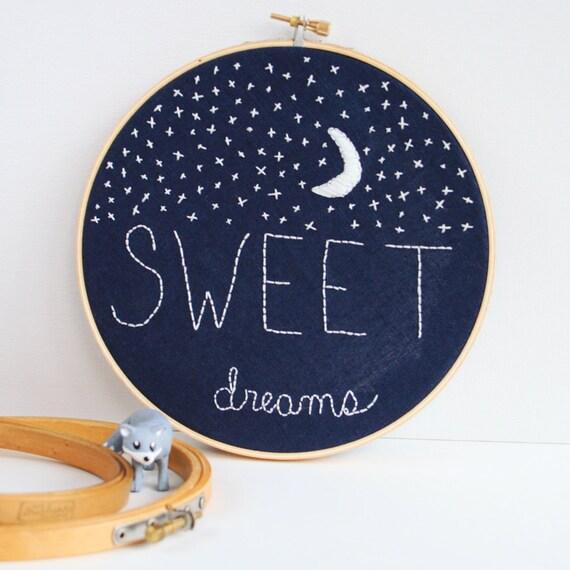 Items similar to sweet dreams nursery decor embroidery