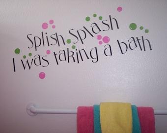 Splish Splash Vinyl Bathroom Decal Medium