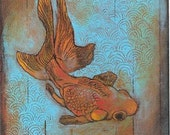 """Goldfish on turquoise water note card titled """"Golden Fantail"""""""