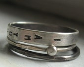 Sterling silver wedding set personalized stacking rings wedding band