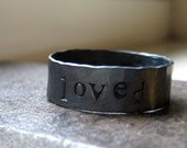 Rustic personalized sterling silver band
