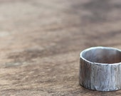 Tree Bark Mens Ring
