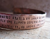 Rustic Hand Forged Copper Constitution Cuff - tinahdee