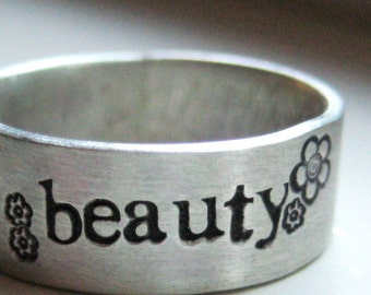 Rustic beauty personalized sterling silver band ring