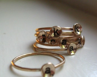 Stackable Gold Initial Ring