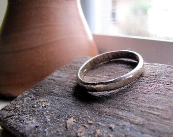Rustic hammered 18k white gold wedding band