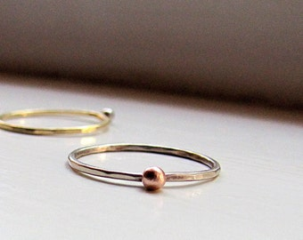 Gold Stacking Ring with Gold Nugget