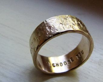 Men's Wedding Band - 14k Gold Unique Rustic Distressed Ring