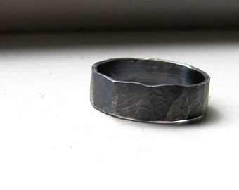 Mens Ring Rustic Distressed Sterling Band