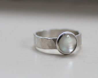 Mother of Pearl Ring Hammered Sterling