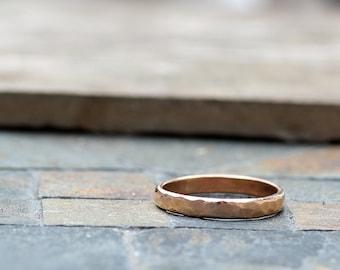 Unique Wedding Band - hammered 18k gold