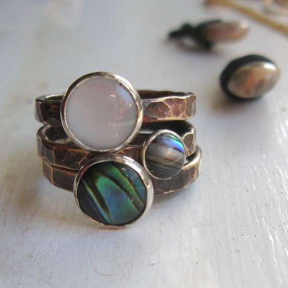 Abalone Mother of Pearl Brass Stacking Rings