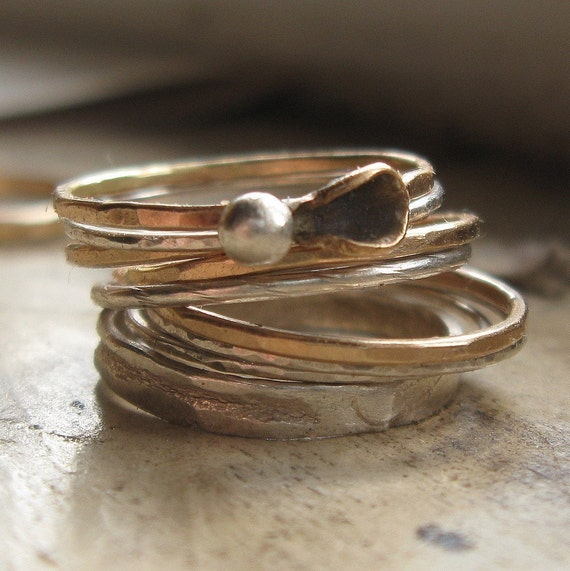 silver and gold stackable rings