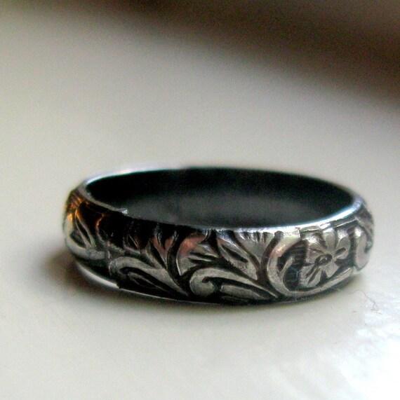 Dark sterling rustic renaissance band ring