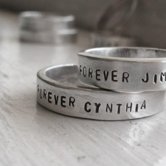 Wedding Band Set - Rustic personalized wedding  rings