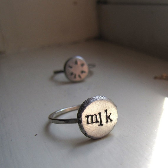 Silver Monogram Ring by tinahdee