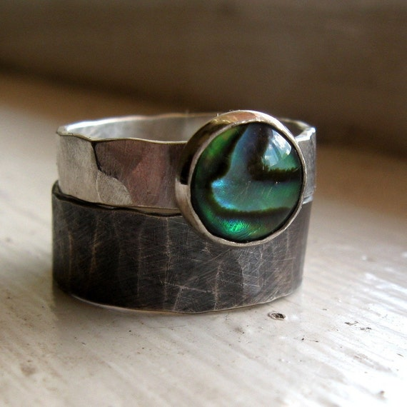 Rustic distressed sterling abalone rings