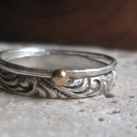 Renaissance Pattern Stacking Rings with Solid Gold Nugget
