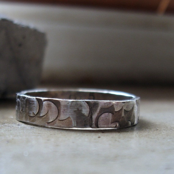 Handmade distressed narrow sterling silver band ring for men or women