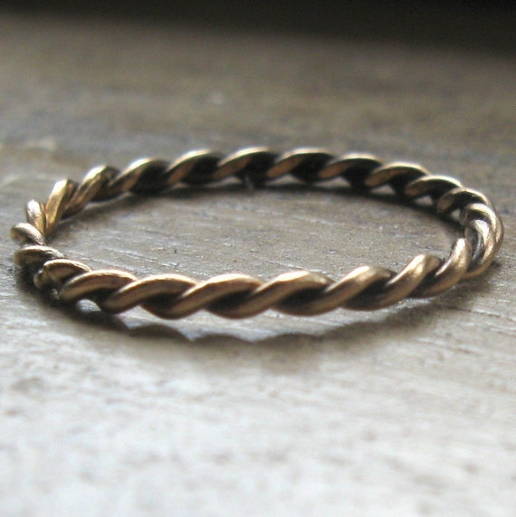 Hand twisted 14k gold fill stackable ring - recycled metal