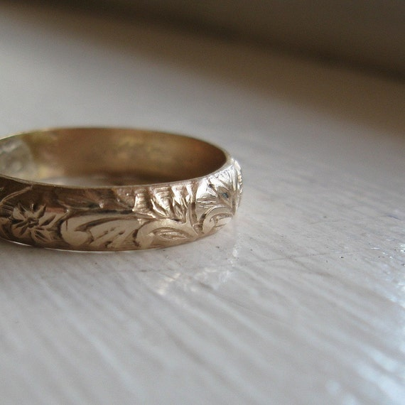 rustic 14k gold fill renaissance wedding ring - Rustic Wedding Rings