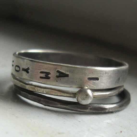 Stacking Rings - Rustic Silver Personalized Promises