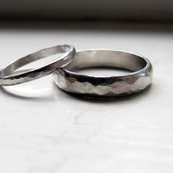 Unique wedding bands of hammered sterling silver