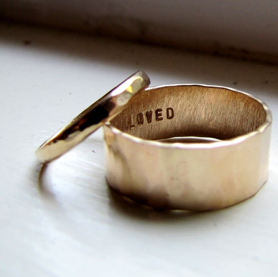 Simple Unique Wedding Band Set of Hammered Gold