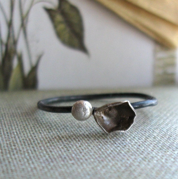 Free Worldwide Shipping Sterling Bud and Leaf Summertime Ring