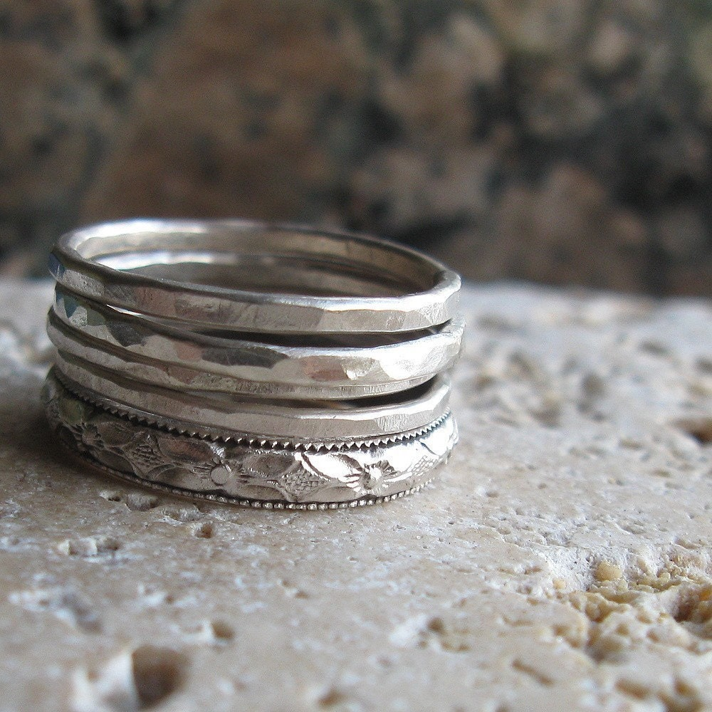 rustic sterling silver stacking ring set by tinahdee on etsy