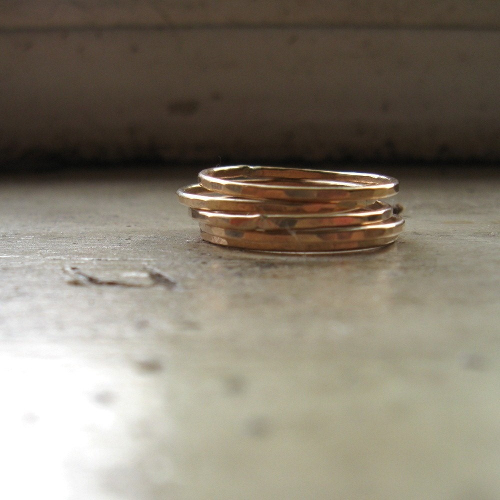gold filled stackable stacking rings five narrow faceted. Black Bedroom Furniture Sets. Home Design Ideas