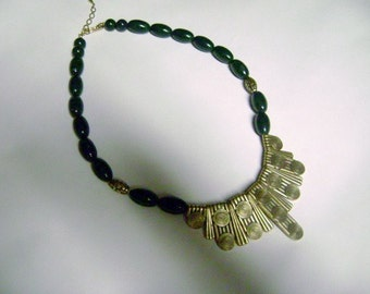 Vintage 70's Egyptian Revival Cleopatra Necklace Boho Brass Plastic