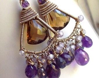 Lovely Sofia Amethst Iolite Tanzanite Whiskey quartz Earrings