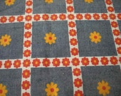 Vintage Flower Power Fabric in Blue, Yellow and Red, 2 scrap pieces