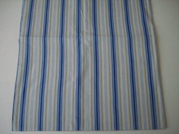 Vintage Blue Tan And White Stripe Fabric By Vargasvalleyvintage