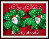 Green and White Swiss Dot Santa Pinwheel Hairbow Set...CLOSEOUT ITEM