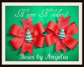 Solid Red Christmas tree Pinwheel Hairbow Set...CLOSEOUT ITEM