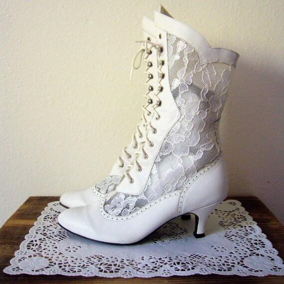 Fantastic LADIES WHITE PATENT PUNK LACE-UP COMBAT RETRO ANKLE GOTH BOOTS SHOES SIZES 3-8 | EBay