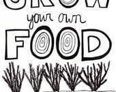Garden Art Print GROW YOUR OWN Food