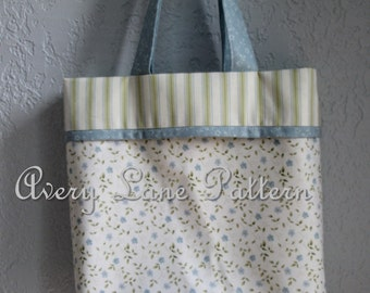 Cuffed Tote Bag Sewing Pattern  by Avery Lane Designs PDF Pattern instant download