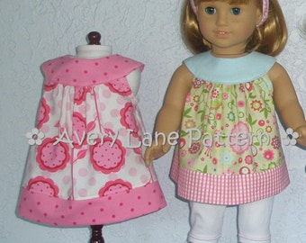 AG 18 inch Doll clothes pattern Amanda Dress and Top plus leggings Avery Lane Designs 18 & 15 inch size dolls PDF Pattern