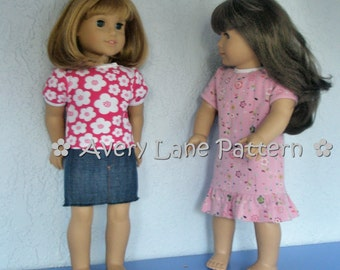 18 inch  doll clothes Sewing Pattern Audrey Tee T-shirt and dress clothing pattern Avery Lane 18 inch dolls PDF patron