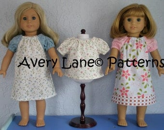 "18"" Doll Peasant Swing Top and Dress Boutique Sewing PDF Pattern instant download 3 different styles for 18 inch dolls"