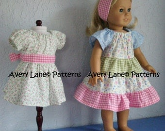 Ivy's Apron peasant Dress pattern  Boutique doll Pattern  Avery Lane 18 inch dolls PDF Patern instant download