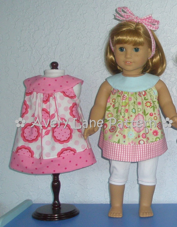 AG Doll clothes pattern Amanda Dress and Top Boutique doll Pattern  Avery Lane Designs 18 inch size doll PDF Pattern email delivery