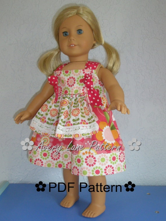 18 inch doll  clothes pattern Apron Knot Dress Boutique Sewing Pattern 18 inch dolls PDF clothing Pattern Instant Download