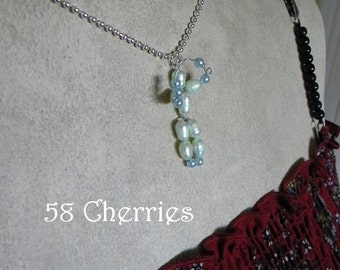 Balloon Animal Pendant - Juggler - Eclectic Jewelry - OOAK - Circus - Green and Blue Glass Pearls