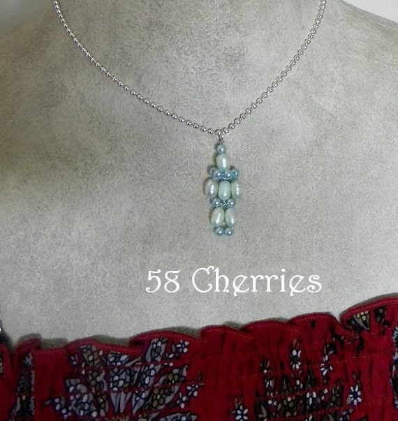 Balloon Animal Pendant - French Clown - Eclectic Jewelry - OOAK - Circus - Green and Blue Glass Pearls