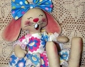 Primitive Raggedy Haileigh Rose Bunny Doll Pattern Et.