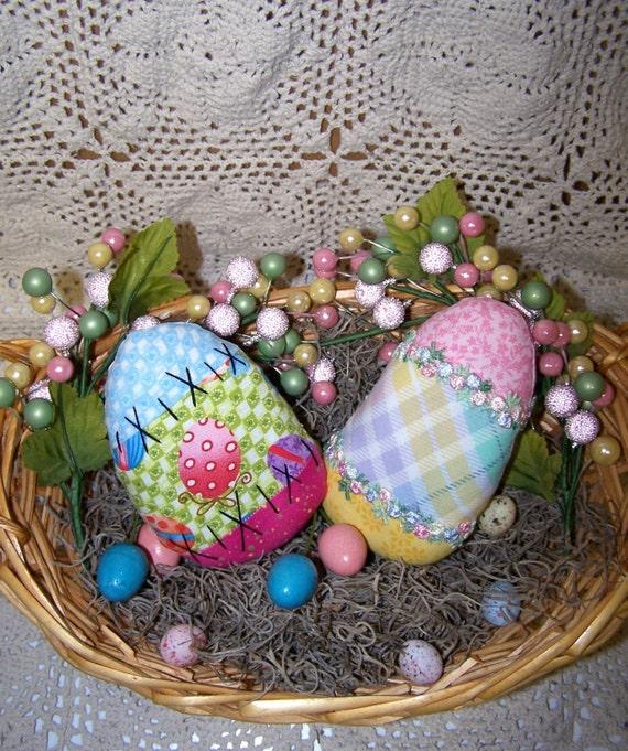 Primitive Decorative Patchwork Eggs Folk Art Pattern Et